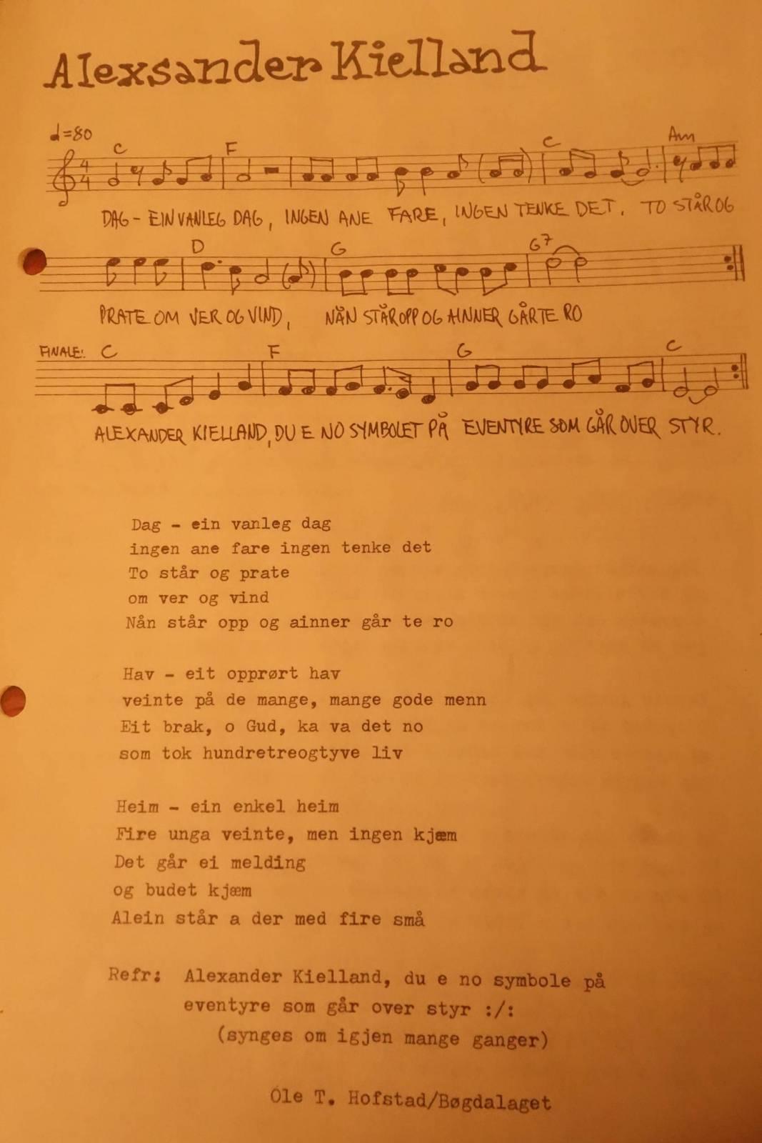 Sangen om Alexander Kielland av Ole T. Hofstad