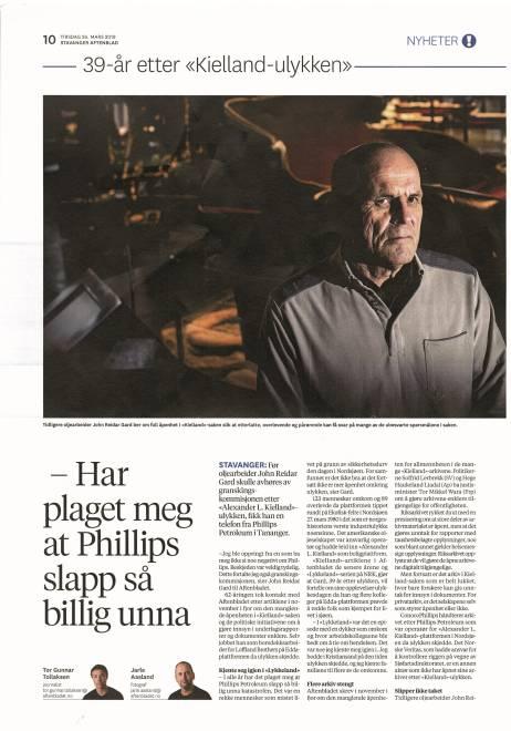 Avisutklipp fra Stavanger Aftenblad med John Reidar Gard.